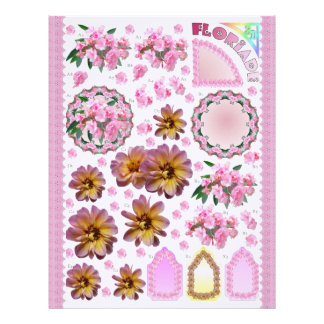 3D Decoupage - Floriade - Pink garden flowers Letterhead