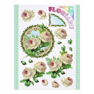 3D Decoupage - Floriade - White roses circle Letterhead
