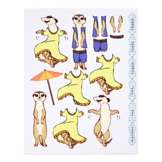 3D Decoupage - Meerkat dancing and country Letterhead