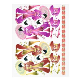 3D decoupage, Romance,  oriental lady Letterhead