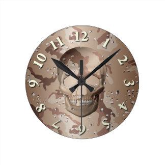 3D Desert Camo Skull Wall Clock