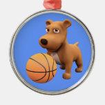 3d Dog Basketball Player (editable) Round Metal Christmas Ornament
