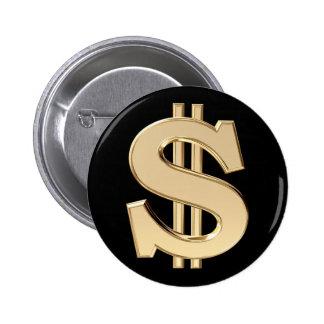 3D dollar sign 2 Inch Round Button