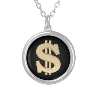 3D dollar sign Round Pendant Necklace