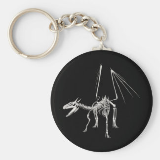 3D dragón esquelético de semitono 5 Llavero Redondo Tipo Pin