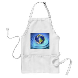3D Earth Floating on Water Ripples Adult Apron