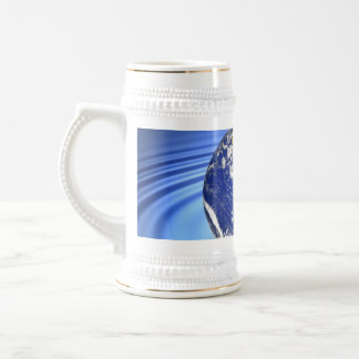 3D Earth Floating on Water Ripples Beer Stein