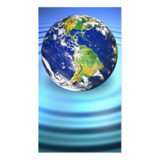 3D Earth Floating on Water Ripples Business Card