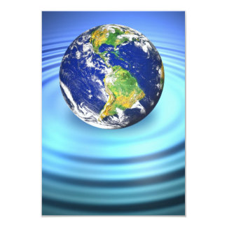 3D Earth Floating on Water Ripples Card