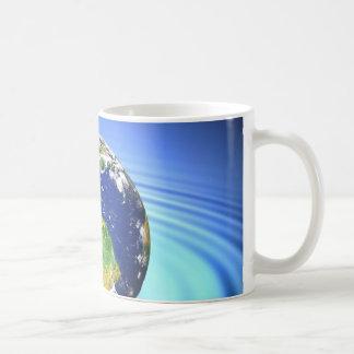 3D Earth Floating on Water Ripples Coffee Mug