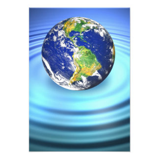 3D Earth Floating on Water Ripples Personalized Invitation