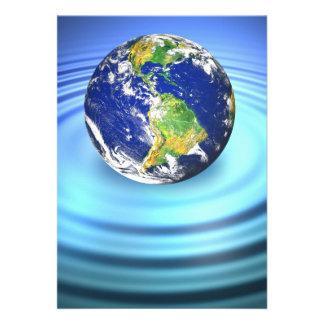 3D Earth Floating on Water Ripples Custom Invitations