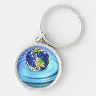3D Earth Floating on Water Ripples Keychain