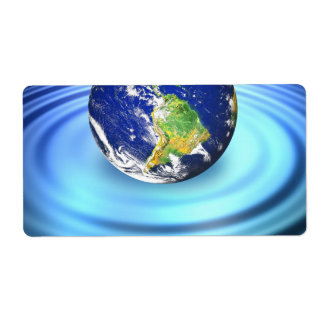 3D Earth Floating on Water Ripples Label