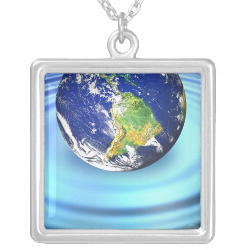 3D Earth Floating on Water Ripples Pendants