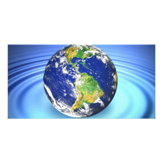 3D Earth Floating on Water Ripples Personalized Photo Card
