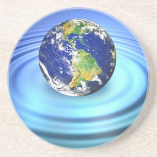 3D Earth Floating on Water Ripples Sandstone Coaster