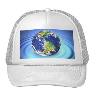 3D Earth Floating on Water Ripples Trucker Hat