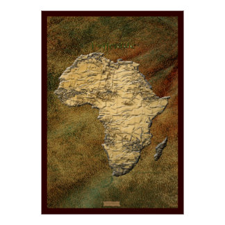 3D-effect Africa Map Art Poster