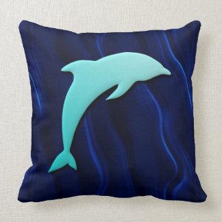 3D Effect Blue Dolphin Deep Water Sea Blue Throw Pillow
