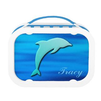 3D Effect Blue Dolphin Monogram Lunch Box