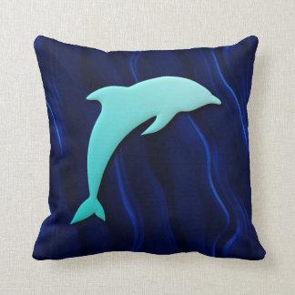 3D Effect Blue Dolphin On Deep Water Blue Throw Pillow