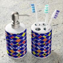 3D Effect Checkered Nautical Flag tiles Motif Soap Dispenser & Toothbrush Holder