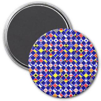 3D Effect Checkered Nautical Flag tiles Pattern Refrigerator Magnet