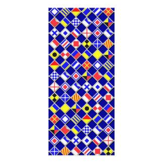 3D Effect Checkered Nautical Flag tiles Pattern Rack Card