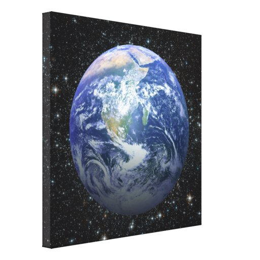 3D Effect - Earth Among The Stars Canvas Print