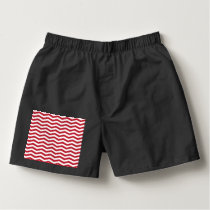 3D Effect Red Holiday Zigzag Pattern Boxers