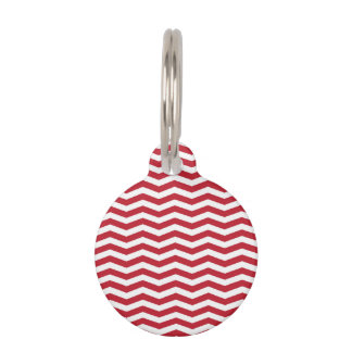 3D Effect Red Holiday Zigzag Pattern Pet Name Tag