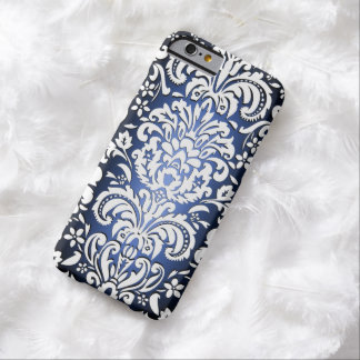 3D Effect Regal Damask Blue/White Fade iPhone Case