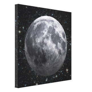 3D Effect - The Moon Among The Stars Canvas Print