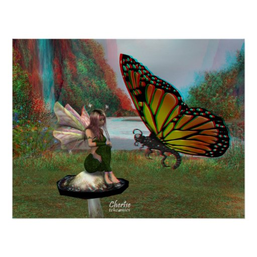 3D Fairy and Butterfly Poster