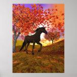 3d Fall Horse Poster