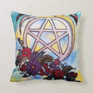 3d floral pentacle throw pillow