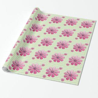 3D-Flowers rosado y telas escocesas verdes Papel De Regalo