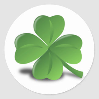 3D Four Leaf Clover Classic Round Sticker