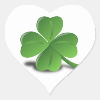 3D Four Leaf Clover Heart Sticker