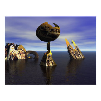 3D fractal art homage to Miro Poster