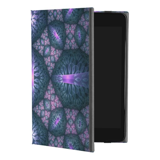 3D Fractal Art Pattern Turquoise Purple Pink iPad Mini 4 Case