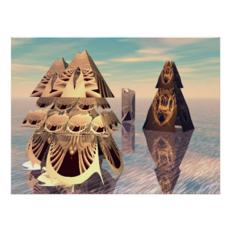 3D fractal pyramid convention Poster