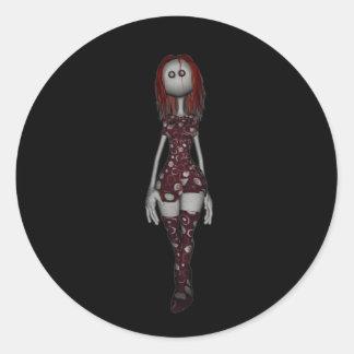 3D Freaky Bonga Doll - Redhead Classic Round Sticker