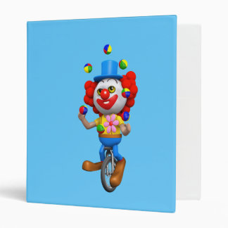 3d Funny Clown Juggles on Unicycle Binders
