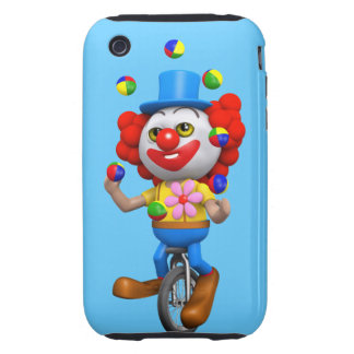 3d Funny Clown Juggles on Unicycle Tough iPhone 3 Cover