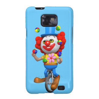 3d Funny Clown Juggles on Unicycle Samsung Galaxy S2 Case