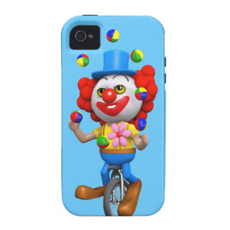 3d Funny Clown Juggles on Unicycle iPhone 4/4S Cases
