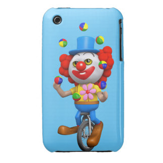 3d Funny Clown Juggles on Unicycle Case-Mate iPhone 3 Cases