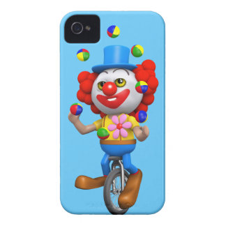 3d Funny Clown Juggles on Unicycle iPhone 4 Cases